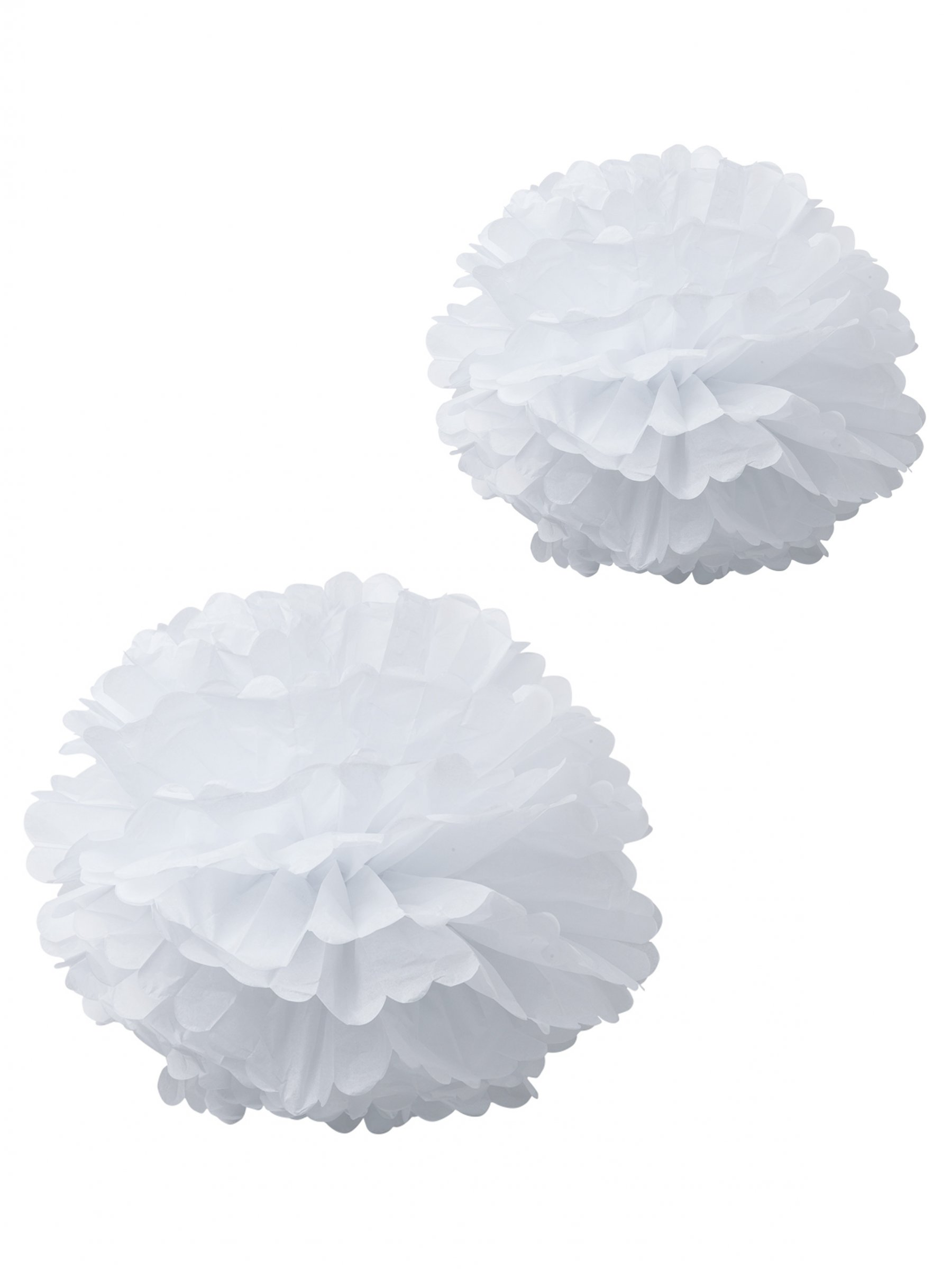 2 pompons en papier de soie blancs 40 et 50cm d coration anniversaire et f tes th me sur. Black Bedroom Furniture Sets. Home Design Ideas