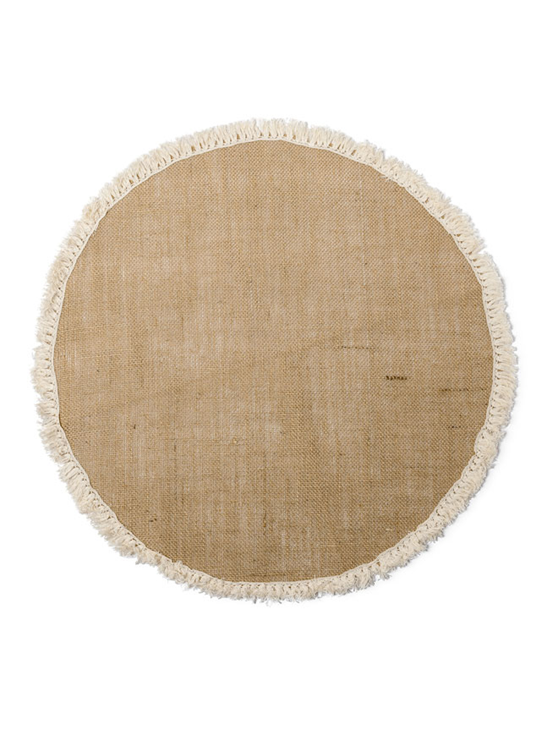 centre de table rond toile de jute franges 52 cm. Black Bedroom Furniture Sets. Home Design Ideas