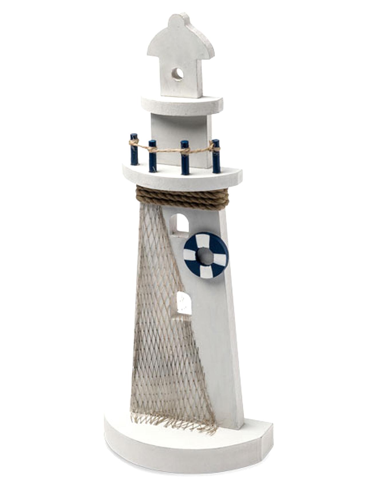 Phare d co marine et blanc 12 x 30cm d coration for Deco bleu marine et blanc