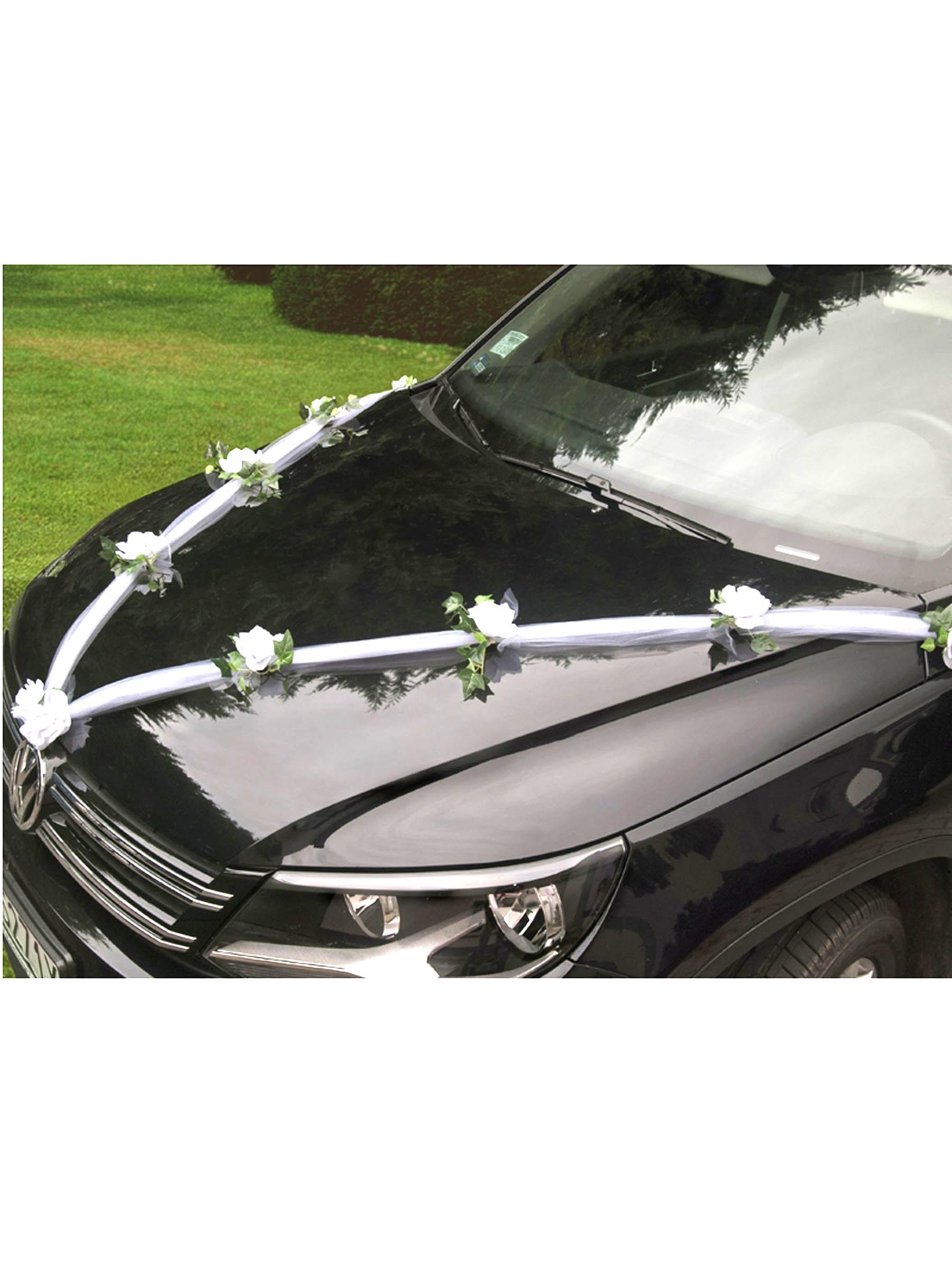 Decoration Voiture Tulle : Décoration voiture tulle roses anniversaire