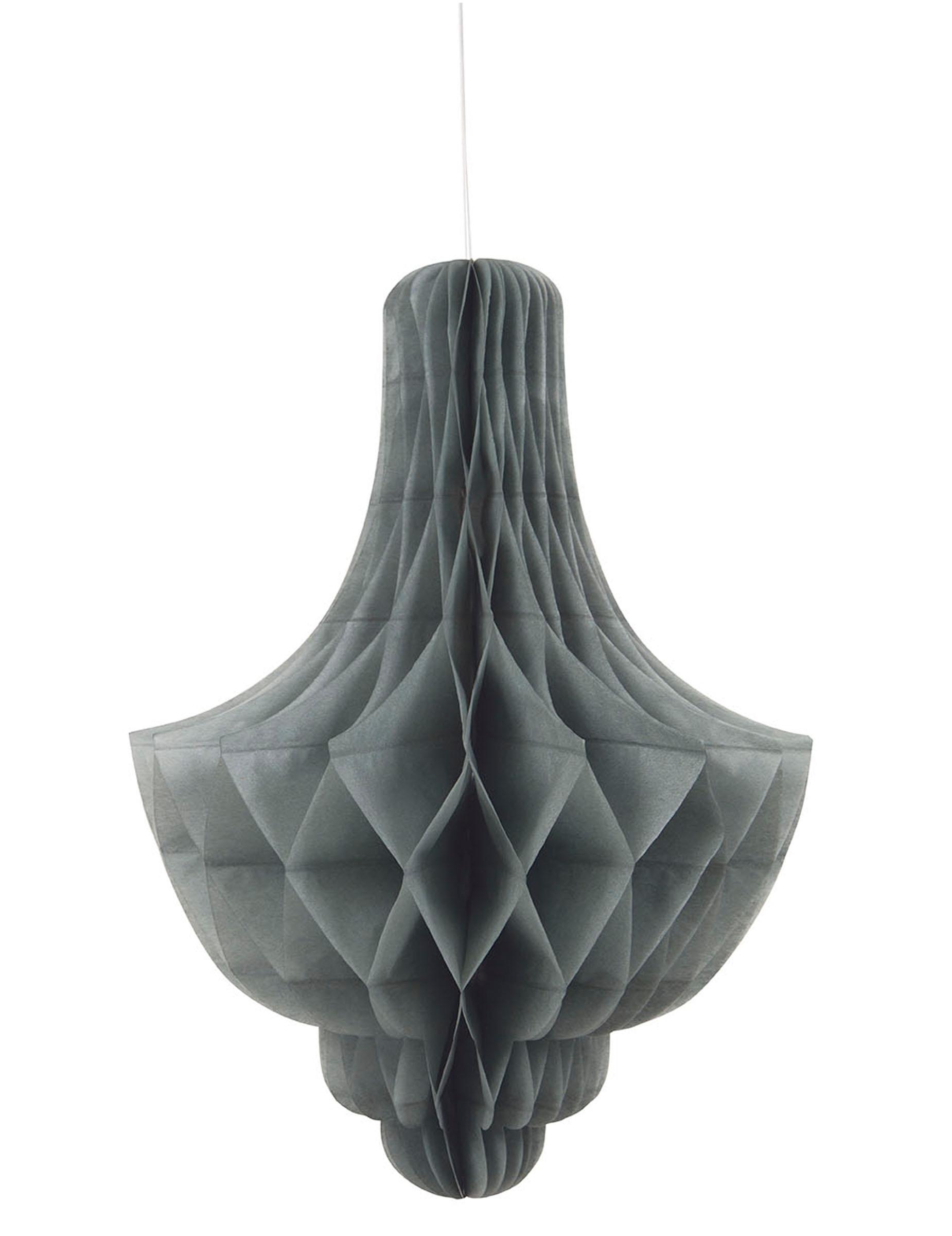 D coration suspendre chandelier en papier gris d coration anniversaire et - Decoration a suspendre ...