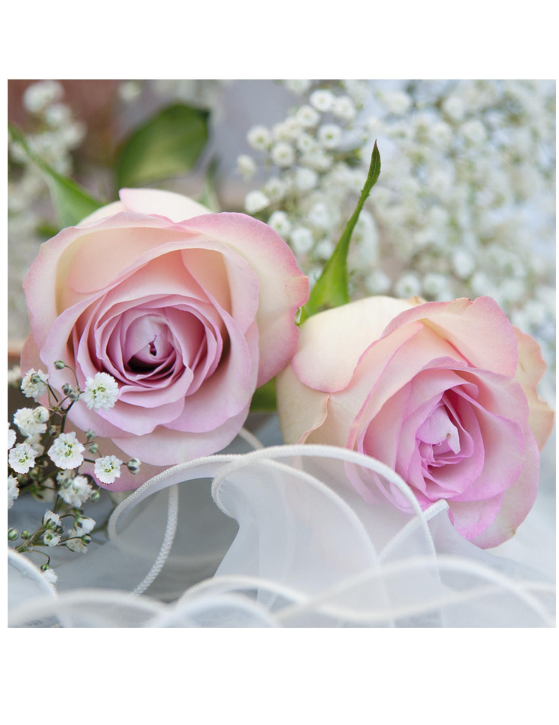 20 serviettes en papier roses romantiques 33 x 33 cm d coration anniversaire et f tes th me. Black Bedroom Furniture Sets. Home Design Ideas