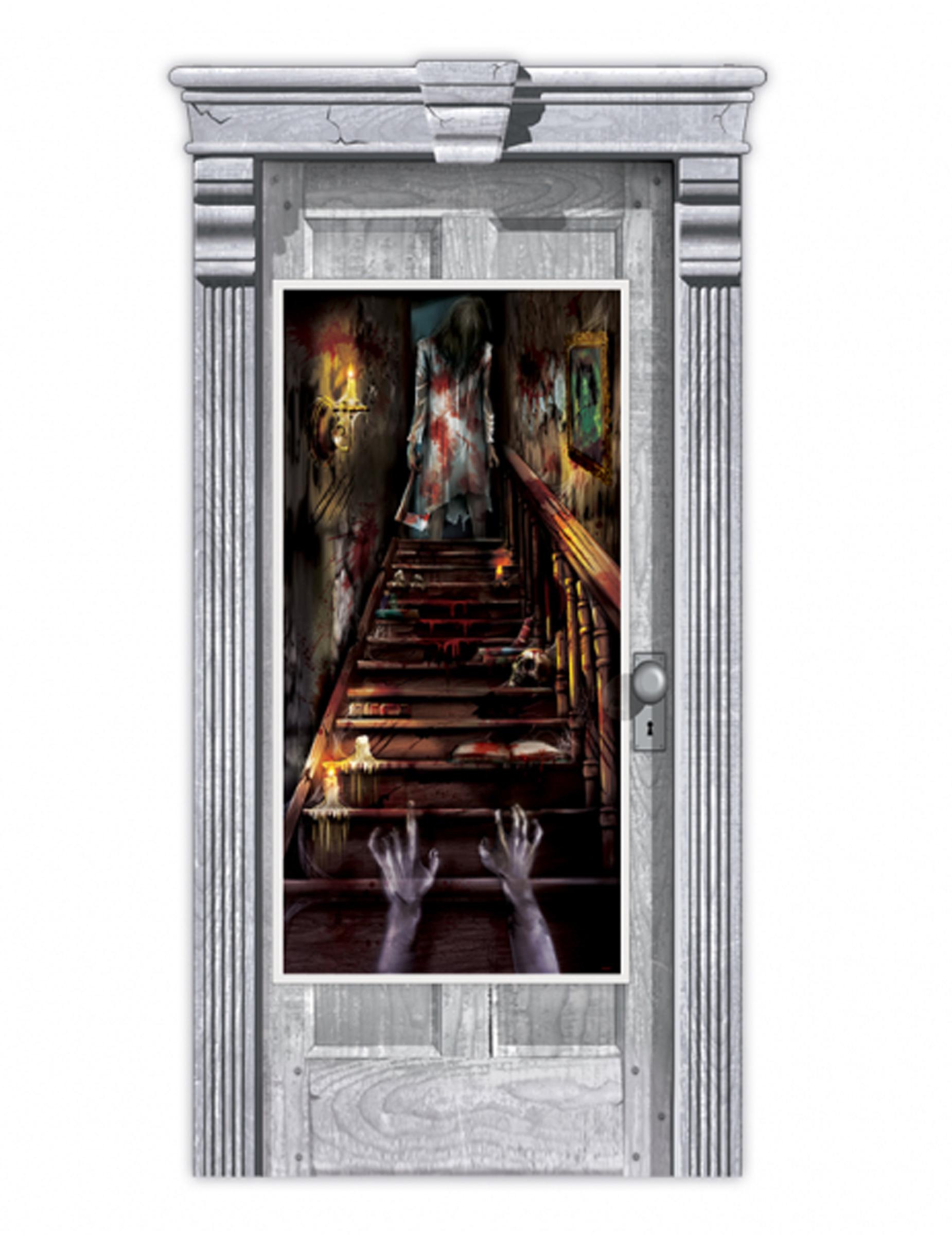 d coration de porte maison hant e zombie 165 x 85 cm d coration anniversaire et f tes th me. Black Bedroom Furniture Sets. Home Design Ideas