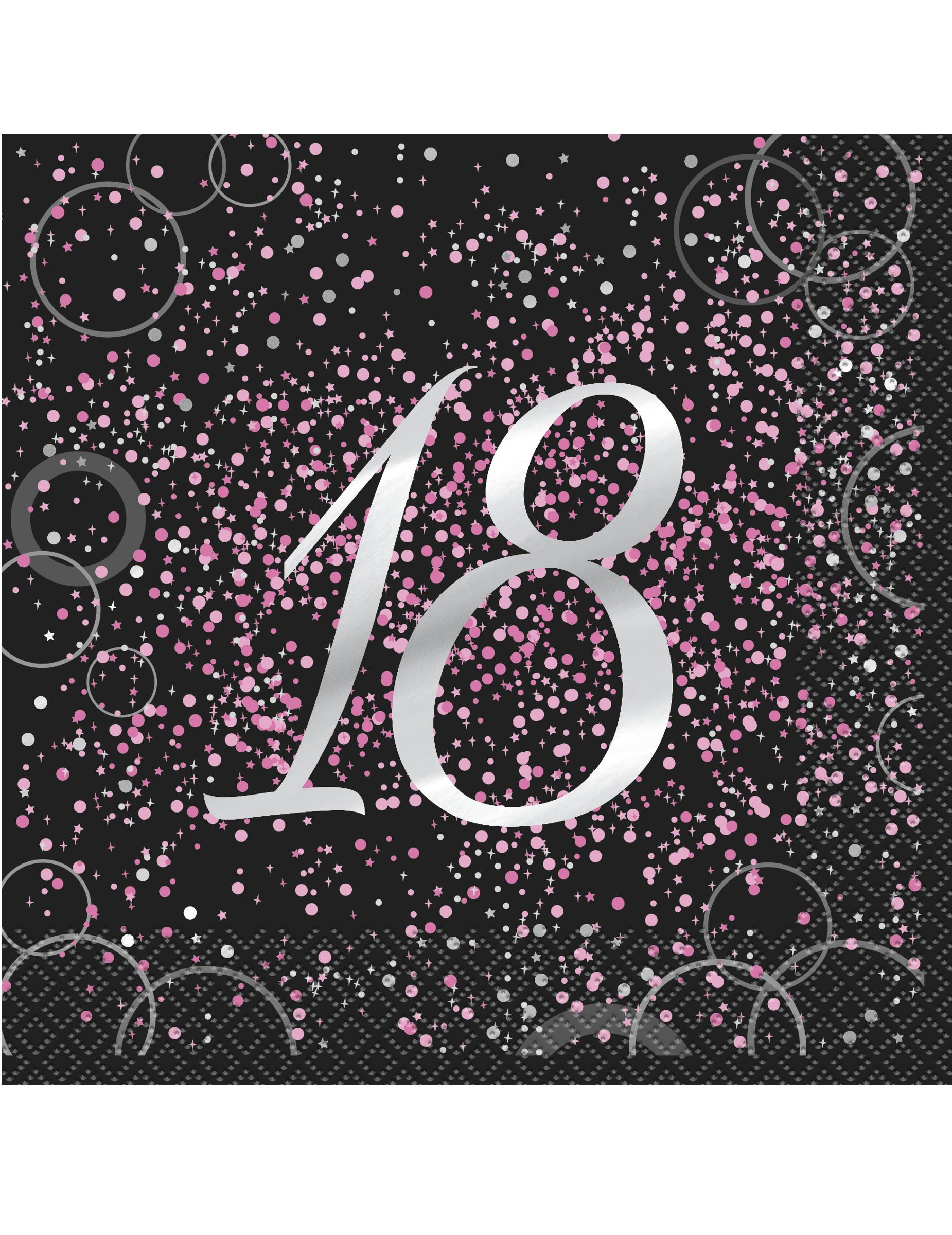 16 serviettes 18 ans en papier happy birthday confettis roses 33 x 33 cm d coration. Black Bedroom Furniture Sets. Home Design Ideas