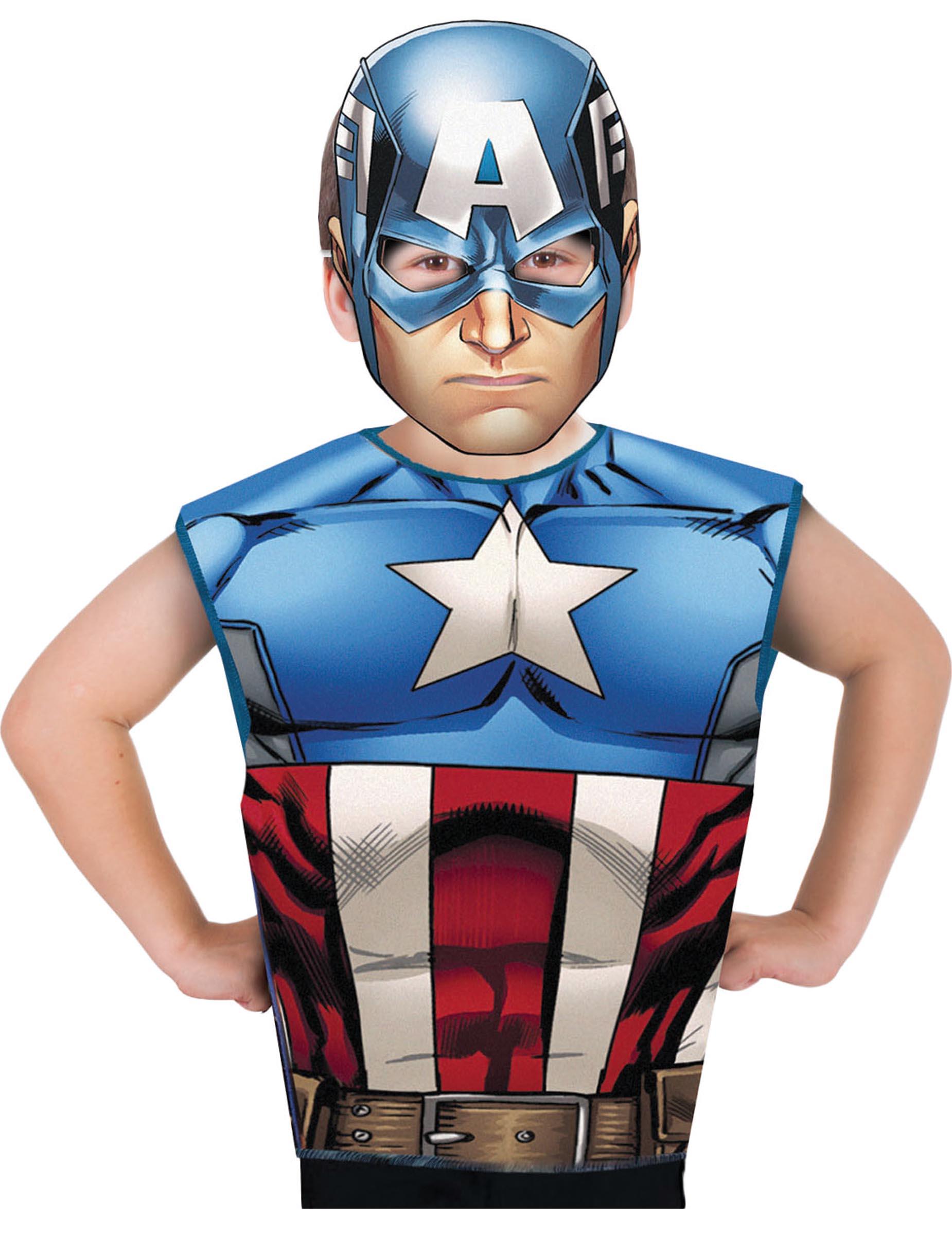 T shirt et masque captain america enfant d coration anniversaire et f tes th me sur vegaoo - Masque de captain america ...