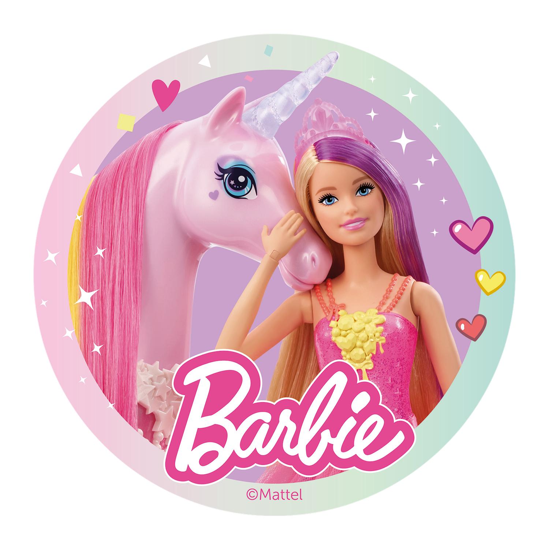Disque azyme barbie avec licorne 20 cm d coration - Barbie licorne ...