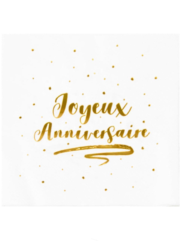 20 Serviettes En Papier Joyeux Anniversaire Dorées 33 X 33 Cm Décoration Anniversaire Et Fêtes à Thème Sur Vegaoo Party