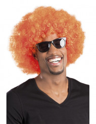 Perruque afro disco orange adulte