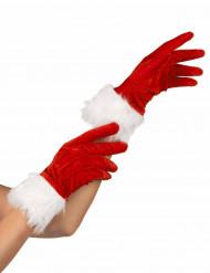 Gants rouge avec fourrure blanche mère Noël femme