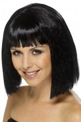 Perruque brune avec frange  femme