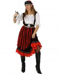 Déguisement pirate à rayures rouges et noires femme