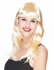 Perruque longue blonde à frange femme