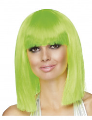 Perruque carré mi-long verte fluo femme