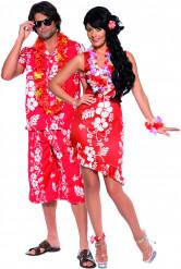 Déguisement couple hawaïens fleuris