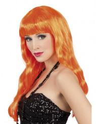Perruque longue orange Femme