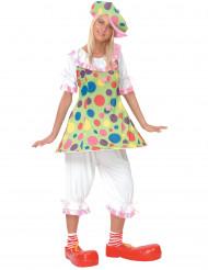 Déguisement clown à pois colorés femme