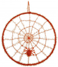 Toile d'araignée orange avec une araignée en cercle