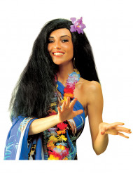 Perruque noire hawaïenne femme