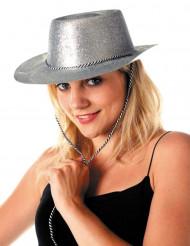Chapeau cowgirl argent à paillettes adulte