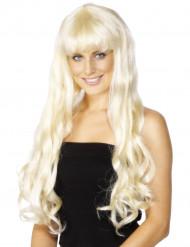 Perruque longue blonde femme