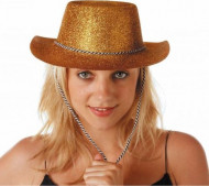 Chapeau cowgirl or à paillettes adulte