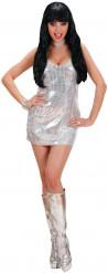 Déguisement robe disco argent femme