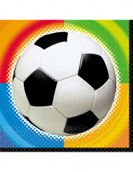 16 Serviettes en papier Football 33 x 33 cm