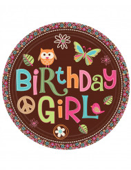 8 Assiettes Birthday Girl en carton