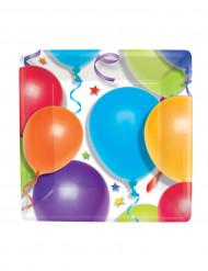8 Assiettes carrées ballons