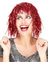 Perruque métallique rouge adulte