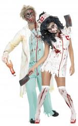 Déguisement couple infirmière et docteur zombies Halloween