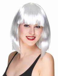 Perruque carré mi-long blanche femme