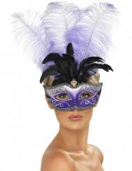 Loup vénitien violet avec grandes plumes noire et violette adulte