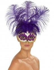 Loup vénitien violet avec plumes violettes adulte
