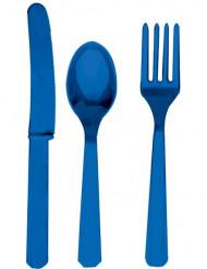 Couverts en plastique bleu