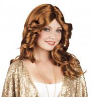 Perruque marron disco femme