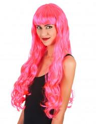 Perruque longue rose femme