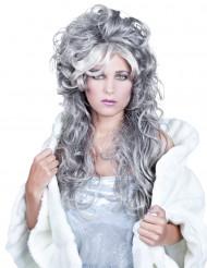 Perruque ondulée longue grise femme