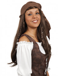 Perruque pirate longue chatain avec bandana femme