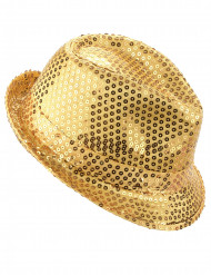 Chapeau borsalino à sequins doré adulte