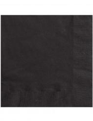 20 Serviettes en papier Noir 33 x 33 cm