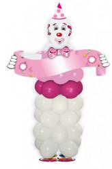 Kit ballons en forme de clown rose