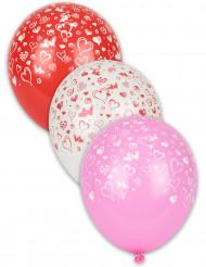 8 Ballons imprimés coeurs