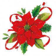 20 Serviettes en papier Fleur de Noël 33 x 33 cm
