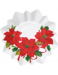 8 Assiettes plate Fleur de Noël