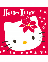 20 Serviettes en papier Hello Kitty™ Noël 40 x 40 cm