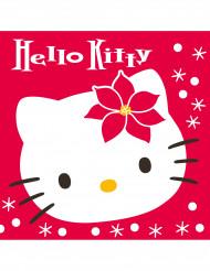 20 Serviettes en papier Hello Kitty™ Noël 40 x 40 cm