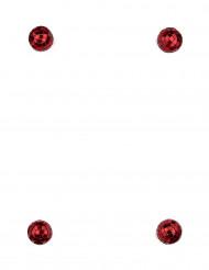 4 mini boules à facettes rouges