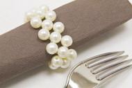 2 ronds de serviette en perles ivoire