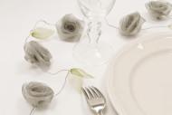 Guirlande de rose organza gris